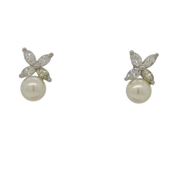 Tiffany & Co Victoria Platinum Diamond Pearl Earrings