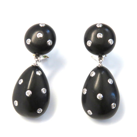 Seaman Schepps Gold Ebony Wood Diamond Drop Earrings