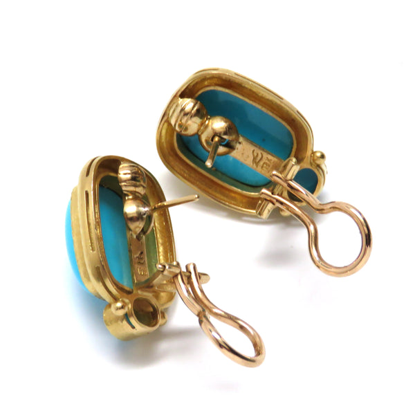 Elizabeth Locke Gold Turquoise Earrings