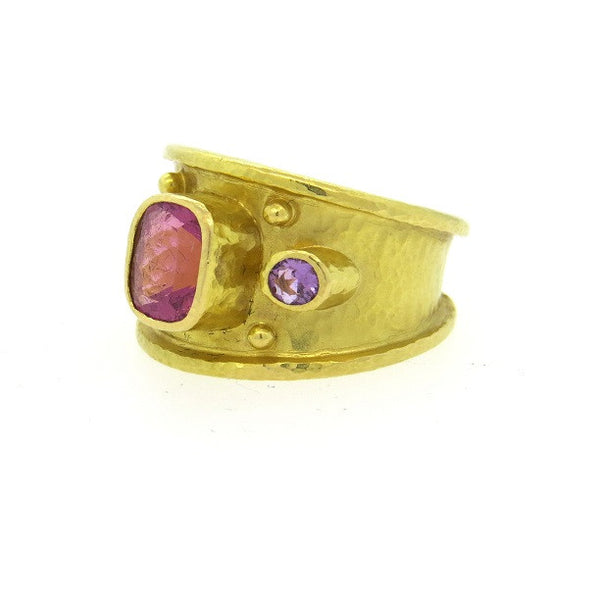 Elizabeth Locke 19k Gold Pink Purple Spinel Ring