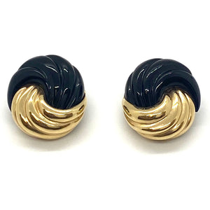 Maz Gold Carved Onyx Swirl Earrings
