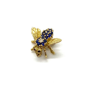 Herbert Rosenthal Gold Sapphire Diamond Ruby Bee Pin