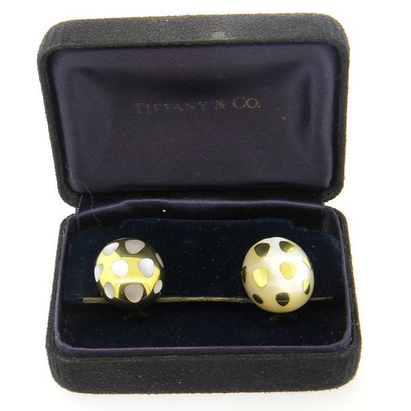 Angela Cummings For Tiffany & Co Gold Positive Negative Mother of Pearl Earrings