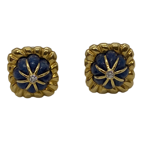 Vintage 18k Gold Carved Lapis Diamond Earrings