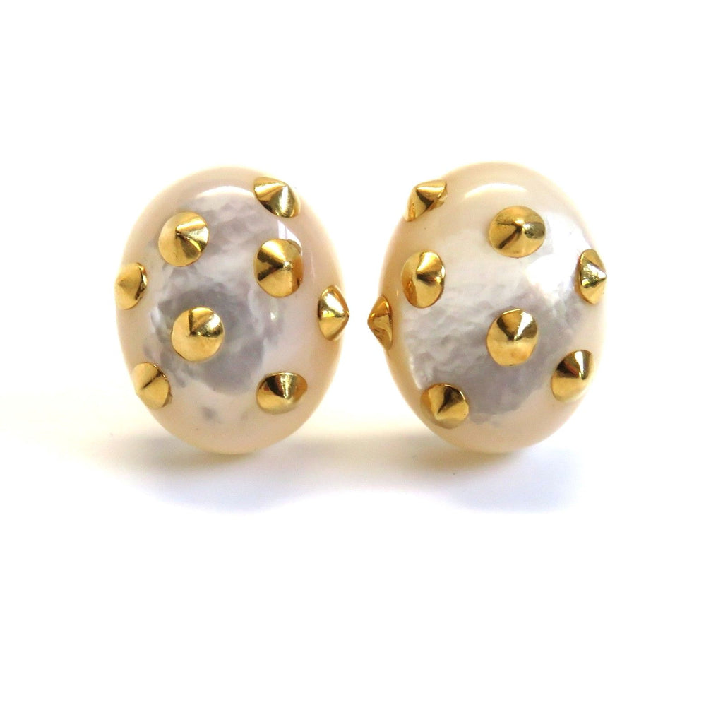 Angela Cummings Gold Mother of Pearl Studded Earrings