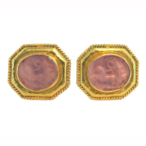 Elizabeth Locke Gold Venetian Glass Intaglio Earrings