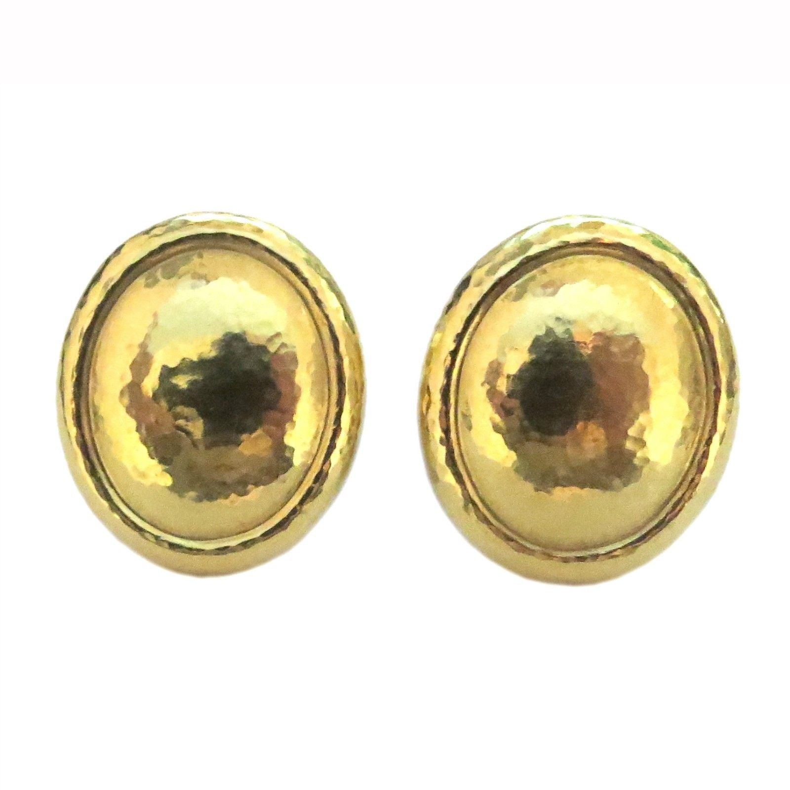 De Vroomen Gold Oval Earrings