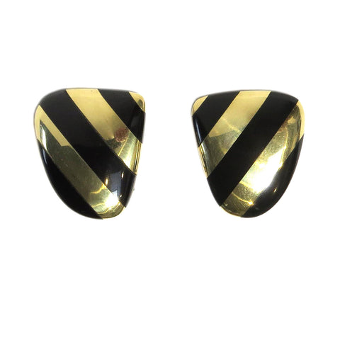 Tiffany & Co Angela Cummings Gold Black Jade Earrings