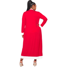 Load image into Gallery viewer, Delta Sigma Theta Inspired: Red & White Dress Duster Set