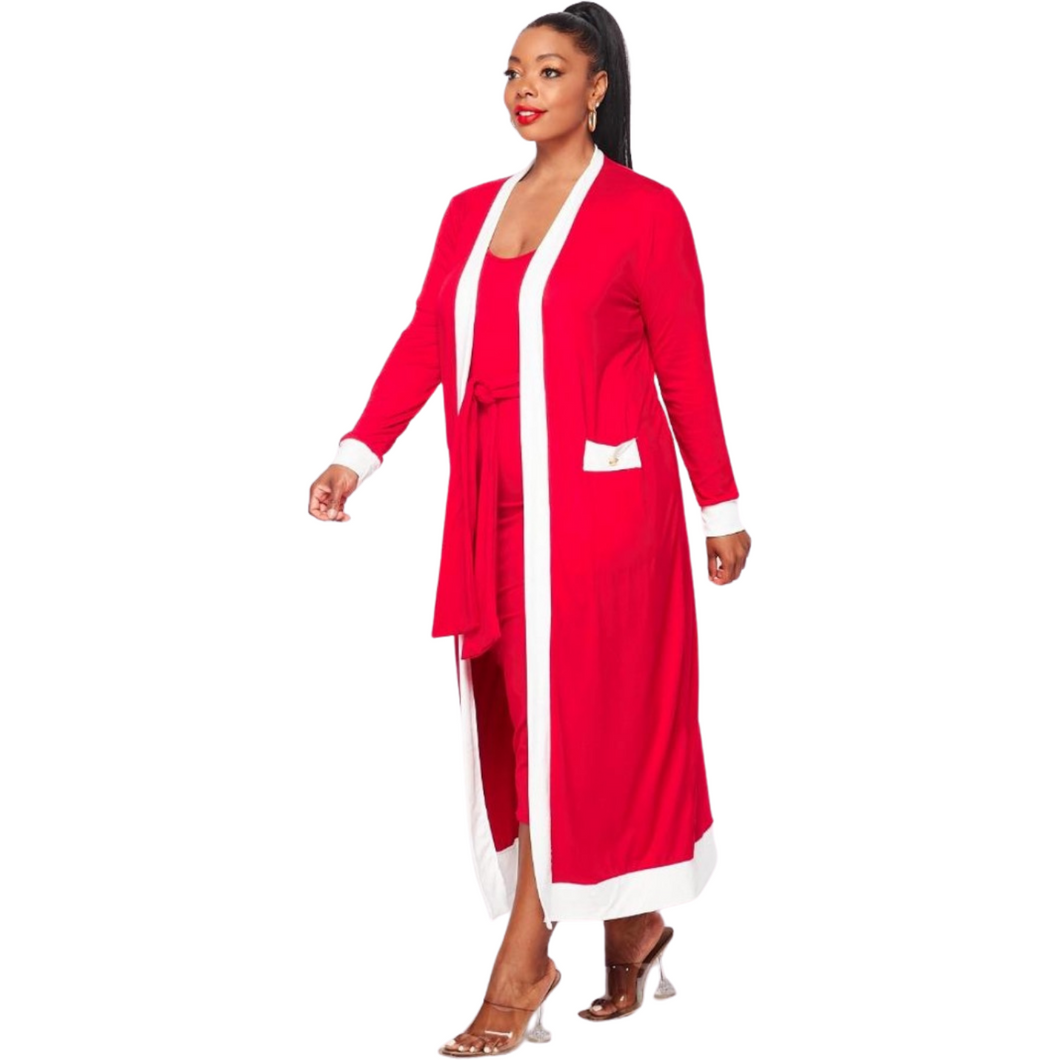 Delta Sigma Theta Inspired: Red & White Dress Duster Set
