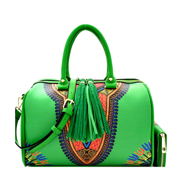 Green African Dashiki Handbag with Wallet