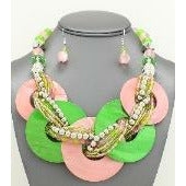 Alpha Kappa Alpha Inspired: Pink & Green Shell Necklace