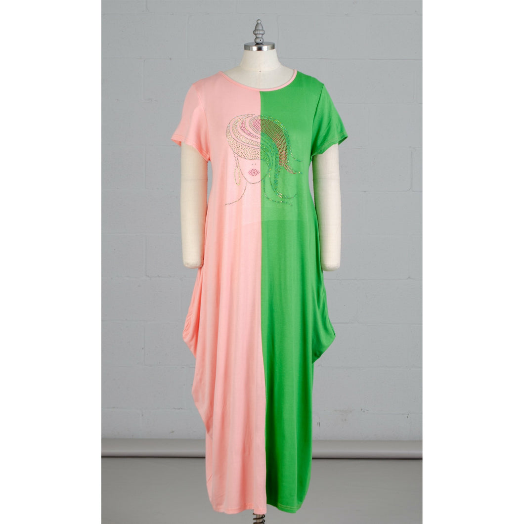 Pink Green Colorblock Dress