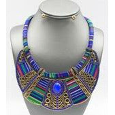 Blue Ethnic Fabric Necklace