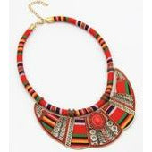 Red Ethnic Fabric Necklace