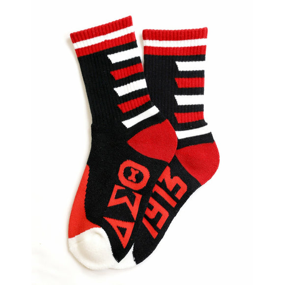 Delta Sigma Theta  Black, Red & White  Stripe Socks