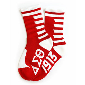 Delta Sigma Theta , Red & White  Stripe Socks