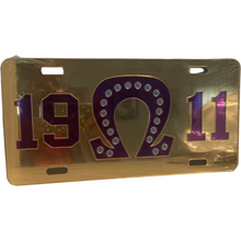 Load image into Gallery viewer, Omega Psi Phi Front License Plate (Purple & Gold)