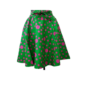 Alpha Kappa Alpha Inspired Skirt: Pink and Green Dot Skirt