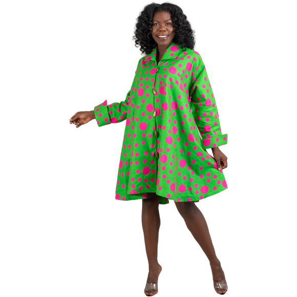 Alpha Kappa Alpha Inspired: Green & Pink Dot Tunic Top