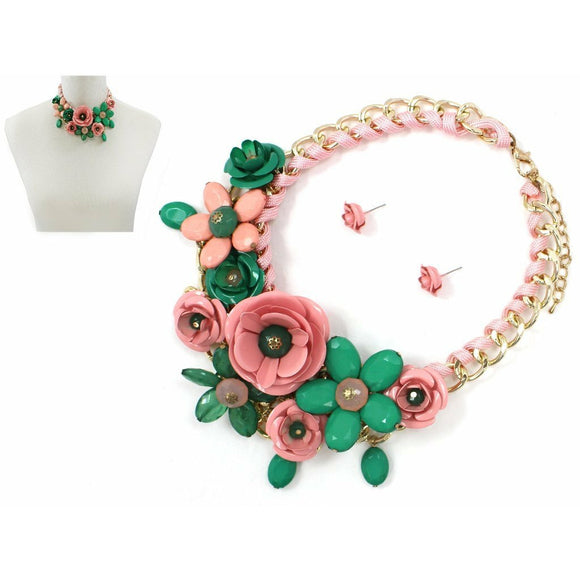 Pink and Green Flower Necklace Set