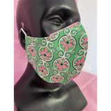 Pink & Green Floral Print Mask