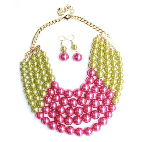 Pink & Green Pearl Necklace with Earrings