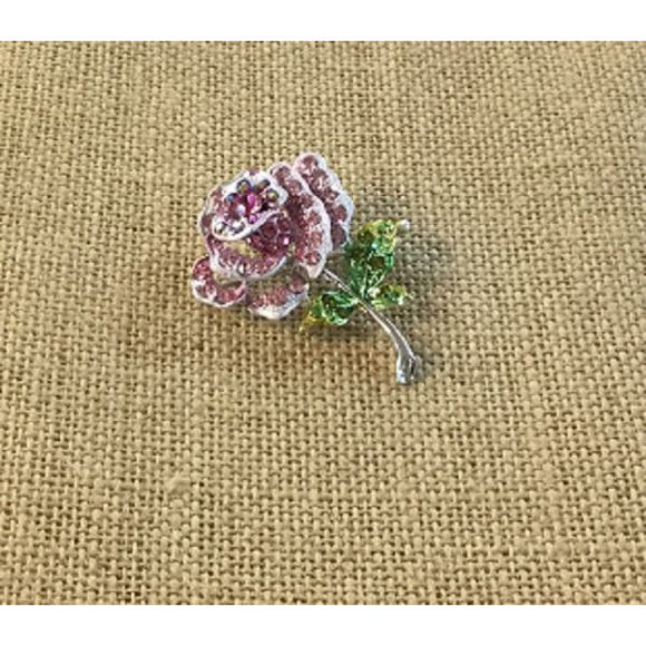 Pink and Green Enamel Rhinestone Rose Pin Brooch