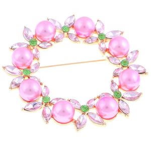 Pink & Green Wreath Brooch