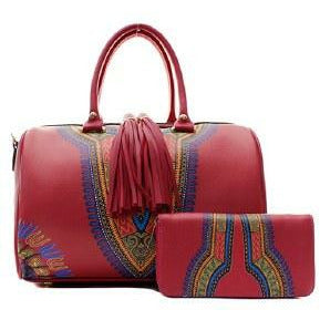 PInk African Dashiki Handbag with Wallet