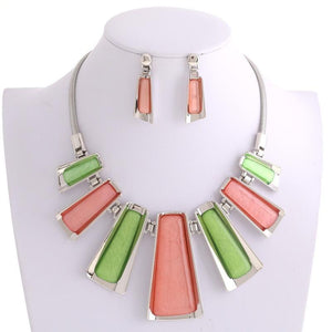 Alpha Kappa Alpha Inspired: Pink & Green Contemporary Necklace Set