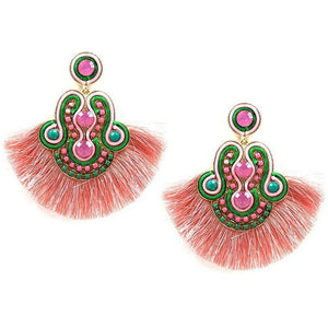 Pink and Green Tassell Earrings