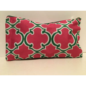Alpha Kappa Alpha Inspired: Pink & Green Cosmetic Bag
