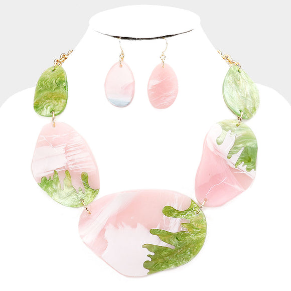 Pink & Green Abstract Necklace