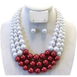Delta Inspired Red & White Pearl Necklace Set (silvertone)