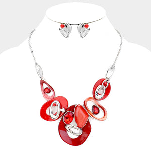 Red and Silver Necklace Set