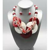 Deta Sigma Theta Inspired: Red & White  Shell Necklace