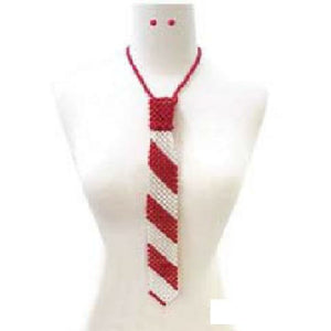 Delta Sigma Theta Inspired: Red & White Pearl Tie Necklace with Matching Stud Earrings