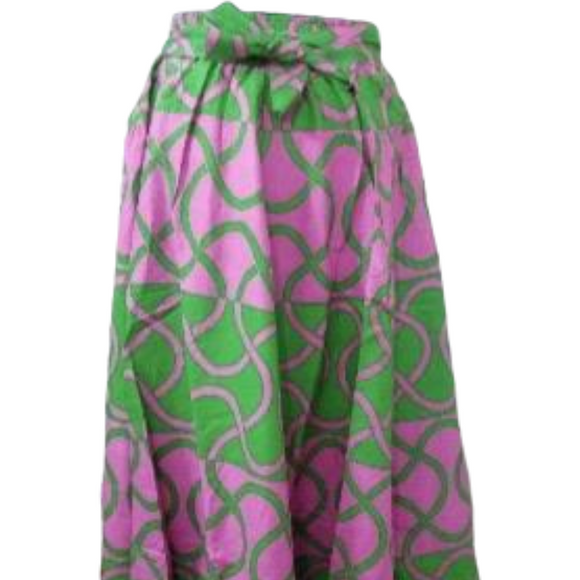 Alpha Kappa Alpha Inspired Skirt: Pink and Green Pattern