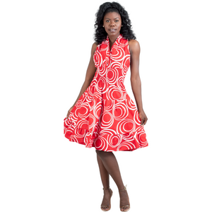 Delta Sigma Theta Inspired: Red & White Halter Dress