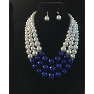 Zeta Phi Beta Inspired: Blue & White Necklace