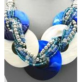 Zeta Phi Beta Inspired Blue & White Necklace