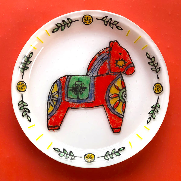 Glass By Number: Dala Horse Plate