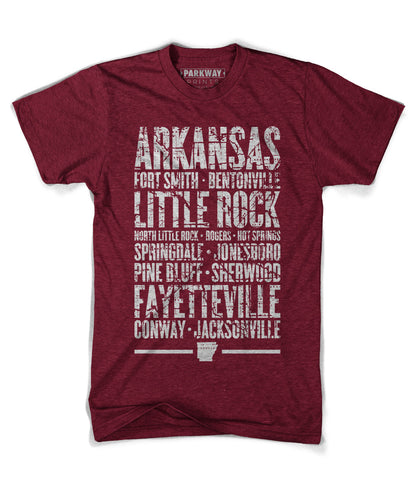 Arkansas Varsity Shirt - Heather Cranberry - Unisex - Parkway Prints