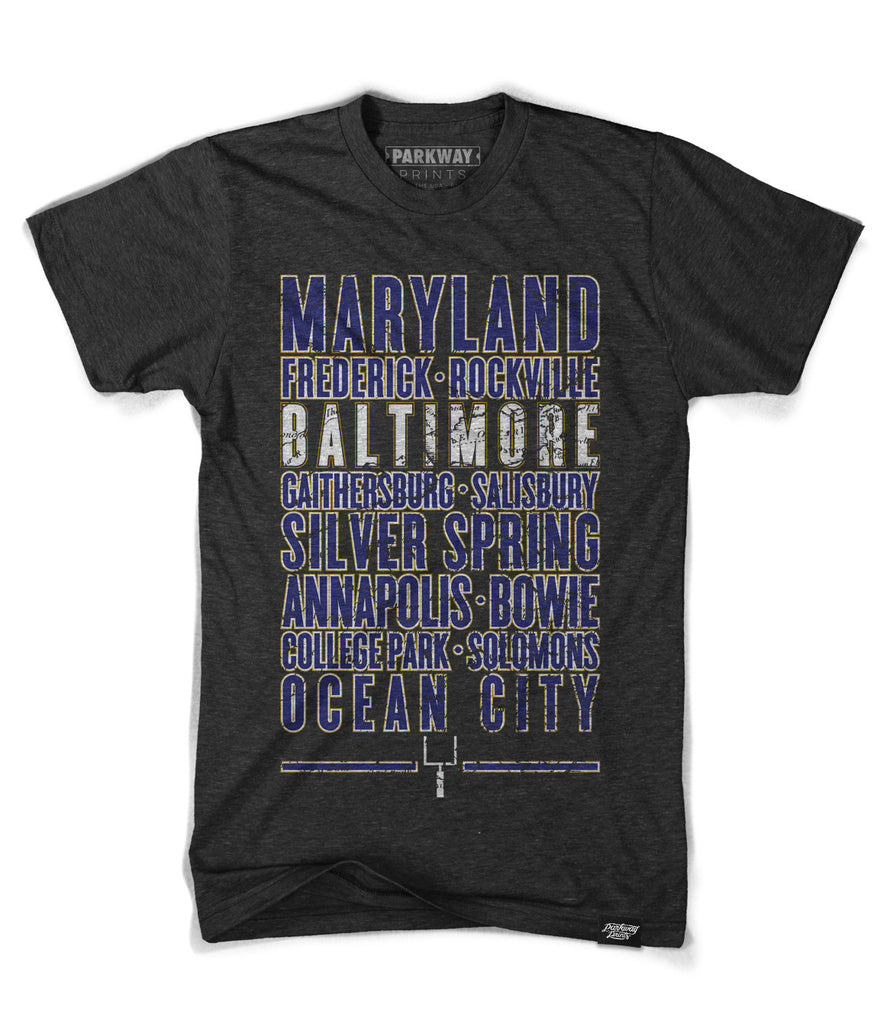 Baltimore Maryland - Third and Long Shirt - Black - Unisex