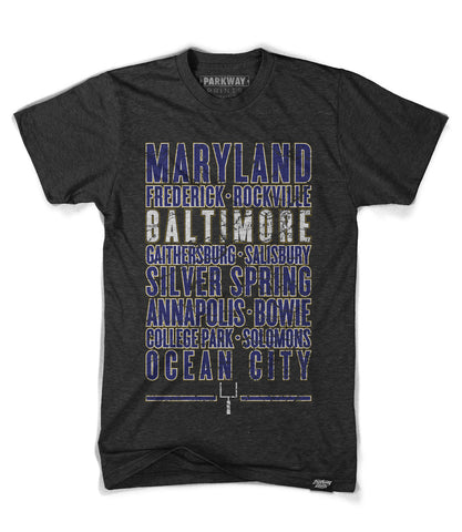 Baltimore Maryland - Third and Long Shirt - Black - Unisex - Parkway Prints