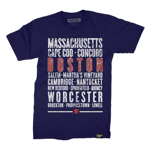 Boston Massachusetts - Third and Long - Navy Shirt - Unisex - Parkway Prints