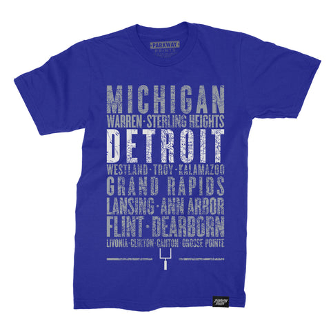 Detroit Michigan - Third and Long - Royal Shirt Unisex - Parkway Prints