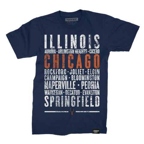 Chicago Illinois - Third and Long - Navy Shirt - Unisex - Parkway Prints