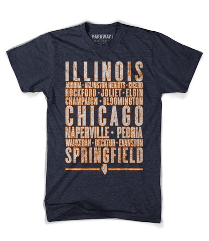 Illinois Varsity Shirt - Heather Navy - Unisex